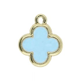 SweetCharm™ Clover / charms pendant / 15x13x1.5mm  / gold plated / blue / 2pcs