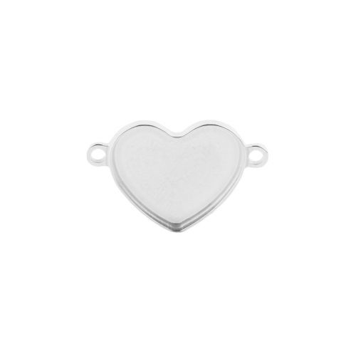 X-Sterling Silver 925 Heart Base Connector Holds 2808 14mm Pk1