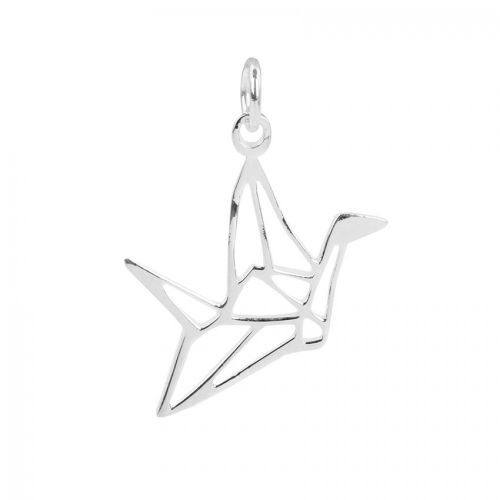 X- Sterling Silver 925 Origami Bird Charm 17x19mm Pk1