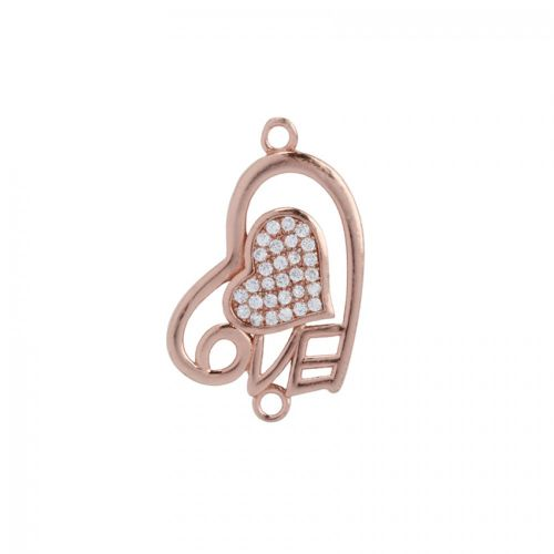 Rose Gold Pl Sterling Silver 925 Cubic Zirconia 'Love' Heart Connector 15x24mm Pk1