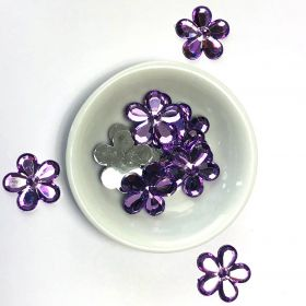 Acrylic / flat back / flower / embellishment / purple / 20x2mm / ~6g