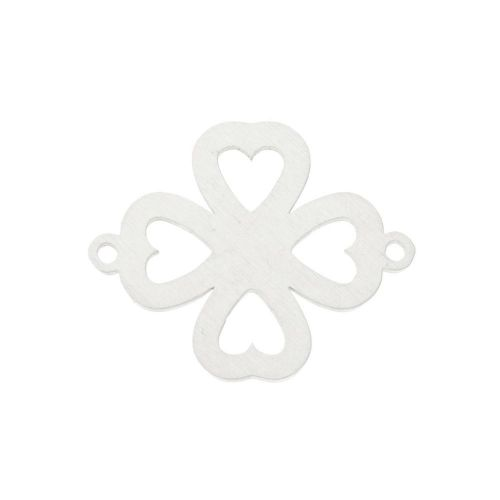 Clover / connector / surgical steel / 20x16x1.1mm / silver / 1pcs