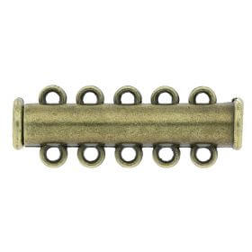 Magnetic clasp / overlapping / 5 loops / 10.5x30.5x6mm / antique bronze / hole 1.5mm / 1pcs