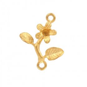 Matt Gold Plated Flower Charm Connector 2 Holes 18mm Pack of 1