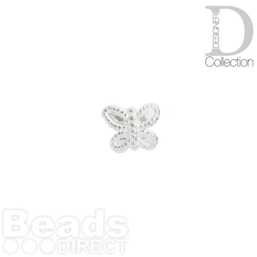 Sterling Silver 925 Detailed Small Butterfly Beads 5x6mm Pk5