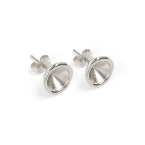 X Antique Silver Zamak Earring Cups for SS39 (8mm) Chatons 11.5mm with Backs 1xPair