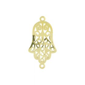 Fatima hand / Hamsa / connector / surgical steel / 27x15x1.3mm / gold / 1pcs