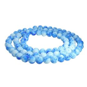Candy™ / round / 10mm / blue-white / 80pcs