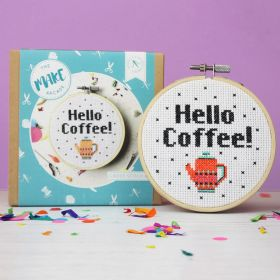 The Make Arcade Cross Stitch Hello Coffee Kit