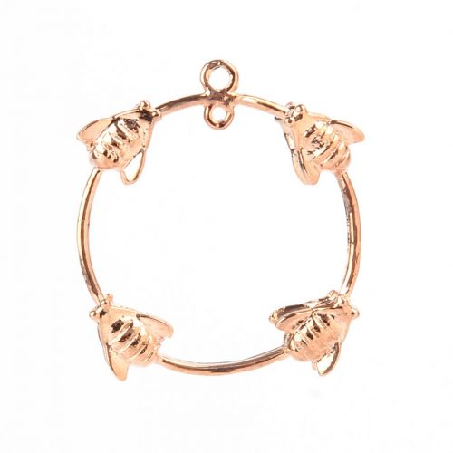 X-Rose Gold Plated Ring with Wasps 2 Loops at Top 23mm Pk1
