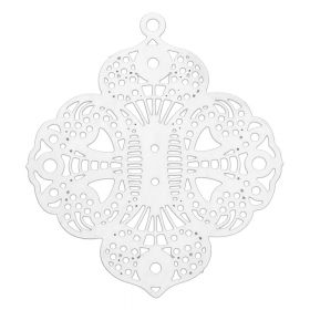 Rosette / pendant filigree / surgical steel / 37x32mm / silver / 1pcs