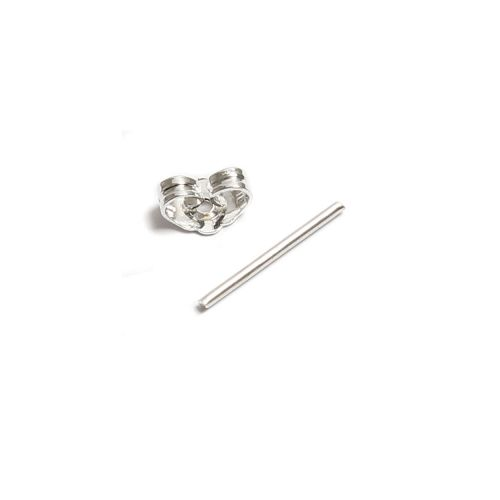 Silver Plated Earring Post including Earring Nuts Pack 1 Pair
