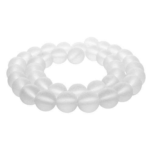 White agate / clear frosted / matte / 8mm / 46pcs