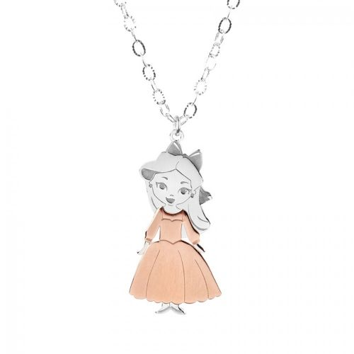 Ready To Wear Sterling Silver 925 Princess Rose Necklace with Box