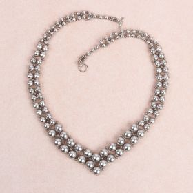 Grey Graduated Pearl Necklace made with Swarovski - Makes x1