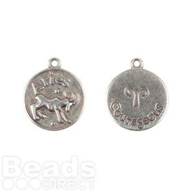 Antique Silver Zamak Zodiac Aries Coin Charms 12mm Pk1