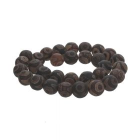 Tibetan agate / round / 12mm / nut brown / 32pcs