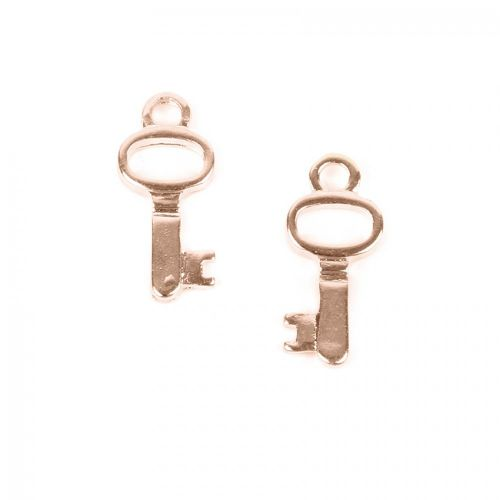 Rose Gold Plated Small Key Charm 18mm Pack of 2