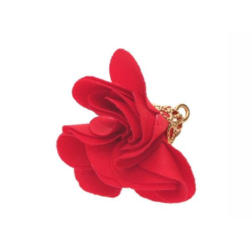 Satin Flower/ with an openwork tip / 26mm / Gold Plated / red / 2 pcs
