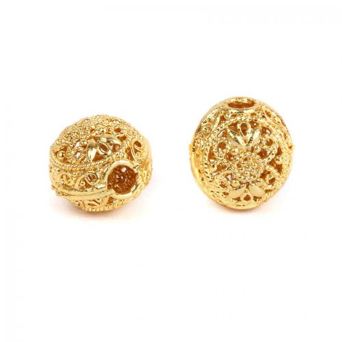 Gold Plated Hollow Filigree Hole Beads 12x15mm Pk2
