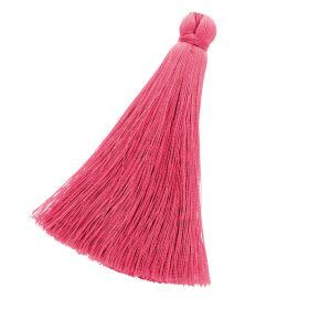Tassel / viscose thread / 70mm / width 10mm / raspberry / 1pcs