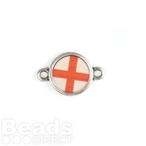 Antique Silver Zamak England Flag Connector Charm 15x19mm Pk1