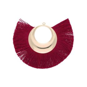 Fan tassel / viscose thread with moon base / 90mm / burgundy / 1pcs