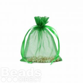 "Green Organza Bag 3""x4"" Pack 5"