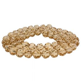 CrystaLove™ crystals / glass / faceted round / 8mm / light brown / transparent  / 65pcs