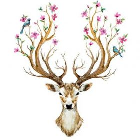 Diamond painting / mosaic / floral deer / 20x25cm / 1pcs