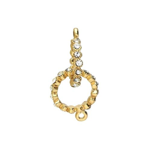 Glamm™ / ring / connector / 30 zircons / 32x16x2mm / gold plated / hole 1.5mm / 1pcs