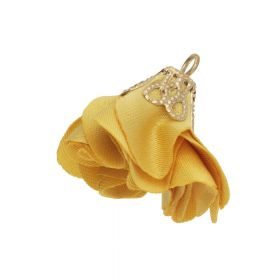 Satin Flower / with an openwork tip / 26mm / Gold Plated / honey / 2 pcs
