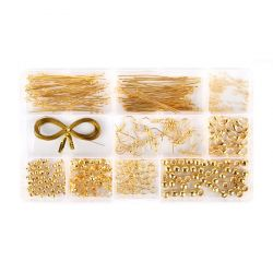 Findings Kit / 10 Styles / Includes Box / Gold Plated / 412 pcs