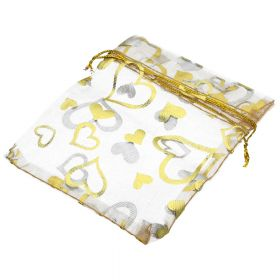Organza bag / 10x12cm / beige with gold hearts / 5pcs