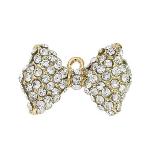 Glamm ™ Bow / charm pendant / with zircons / 13.5x21mm / gold plated / 1pcs