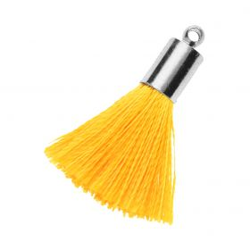Tassel / viscose thread / silver end cap / 25mm / yellow / 1pcs
