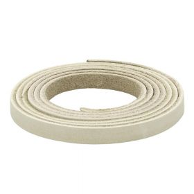 Leather cord / natural / flat / 6x2mm / cream / 1m