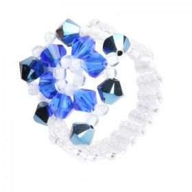 Blue and White Primrose Flower Ring TAMB Kit made with Swarovski - Makes x4