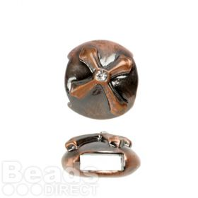 Copper Tone Slider Charm Bead Cross Design with Centre Crystal 12mm Pk1