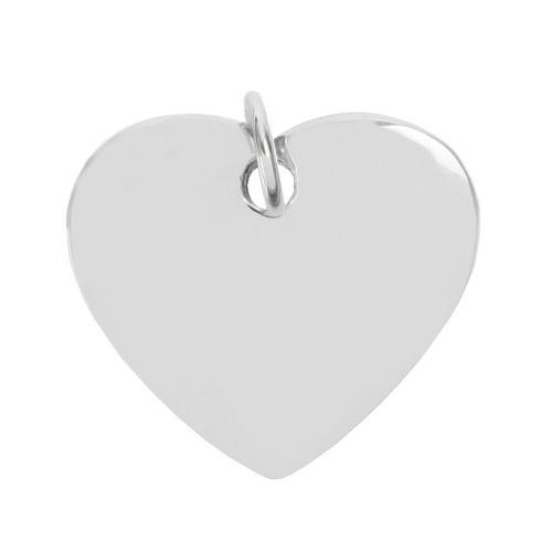 Sterling Silver 925 Heart Charm 17x20mm with Soldered Ring Attached Pk1