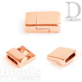 Rose Gold Plated Stainless Steel Magnetic Clasp 13x20mm fits 2.5x10mm Cord Pk1