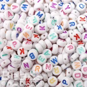 Acrylic Flat Oval Alphabet Letter Beads 7mm Pk500