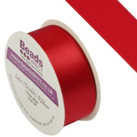 Red Double Satin Ribbon 19mm Sold on a 5 Metre Reel