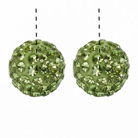 Green Premium Shamballa Fashion Half Drilled 10mm Round Beads Pk2
