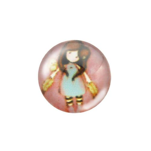 Glass cabochon with graphics 12mm PT1505 / pink / 4pcs