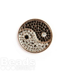 Small Rose Gold Yin and Yang Coin Disk for Interchangeable Locket 24mm Pk1