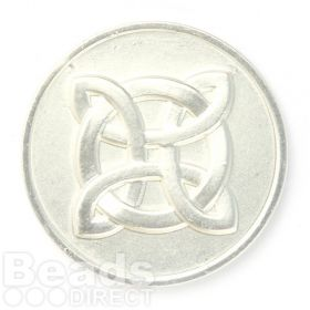 KB Matte Silver Plated Cross Pattern Coin Disk for Interchangeable Locket 32mm Pk1