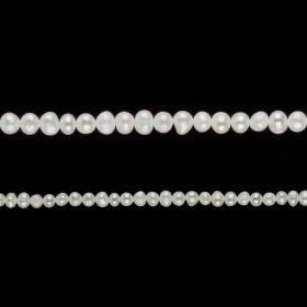 "White Freshwater Potato/Round Pearl Beads 4-5mm 15"" Strand"