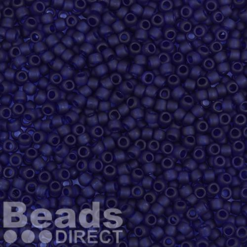 Toho Size 8 Round Seed Beads Transparent Frosted Cobalt 10g