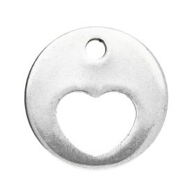 Circle with heart / pendant / surgical steel / 13mm / silver / 4pcs